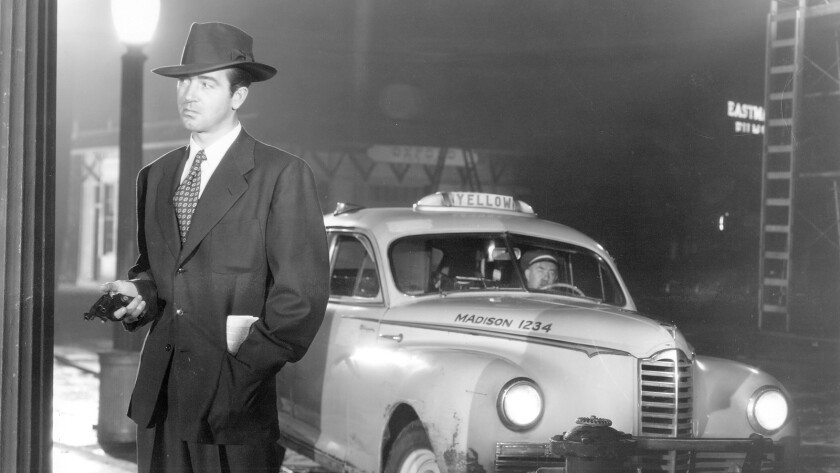 "John Payne in the 1949 film ""The Crooked Way"" (1949), directed by Robert Florey."