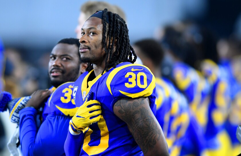 Rams running back Todd Gurley looks on before a playoff game against the Cowboys in January.