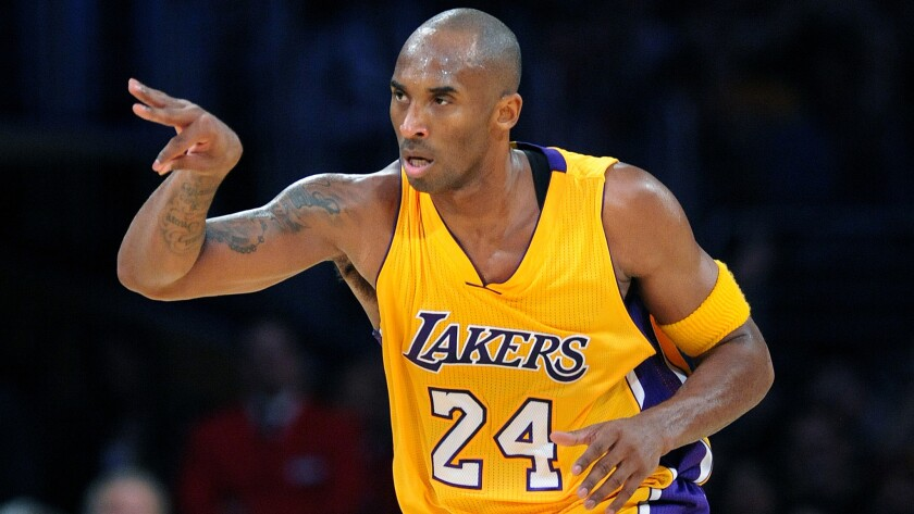 Lakers guard Kobe Bryant, celebrating a three-pointer, is No. 3 on the NBA's all-time scoring list.