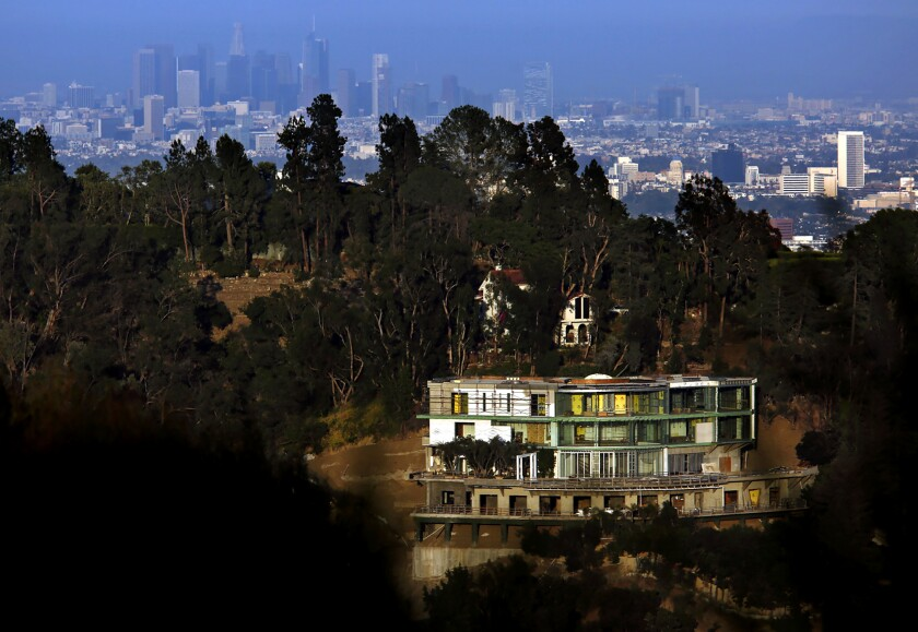 The unfinished mansion at 901 Strada Vecchia Road in Bel-Air in 2017.