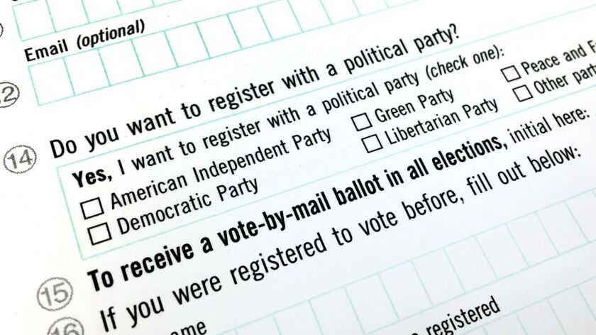 """In 2016, a Times investigation found a sizable number of voters who marked """"American Independent Party"""" on their voter registration forms thought they were choosing to be unaffiliated, or independent, voters."""