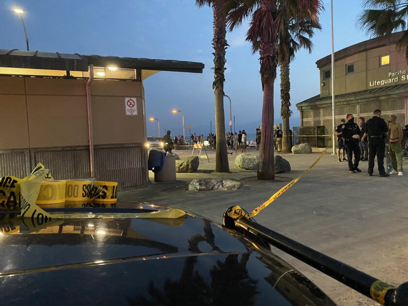 San Diego police investigate a fatal stabbing Aug. 16 inside a public restroom near the beach in Pacific Beach.
