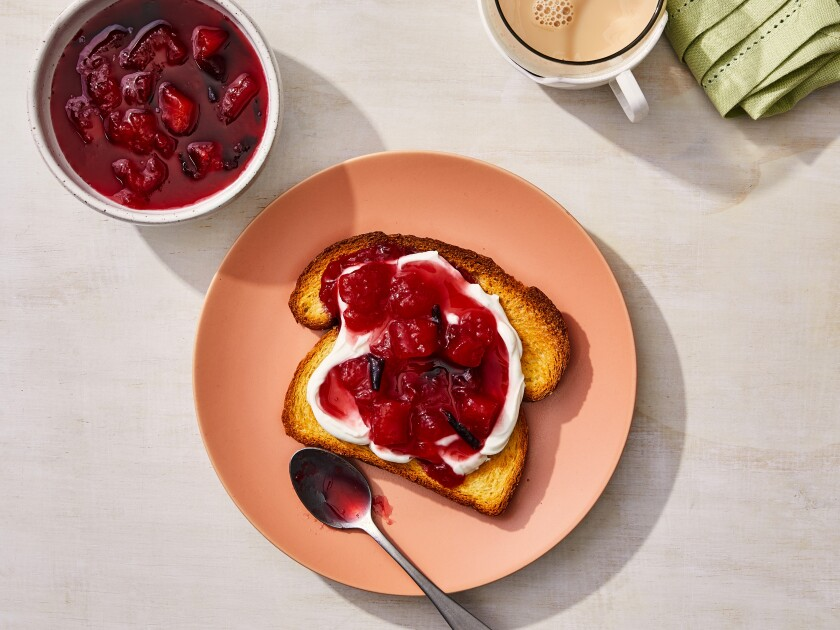 Brioche toast with plum jam and ricotta cheese