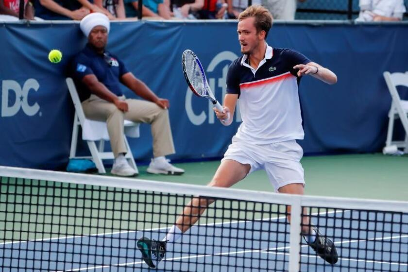Daniil Medvedev of Russia in action against Frances Tiafoe of the USA during the Citi Open tennis tournament at the Rock Creek Park Tennis Center in Washington, DC, USA, 01 August 2019.EFE/Erik S. Lesser