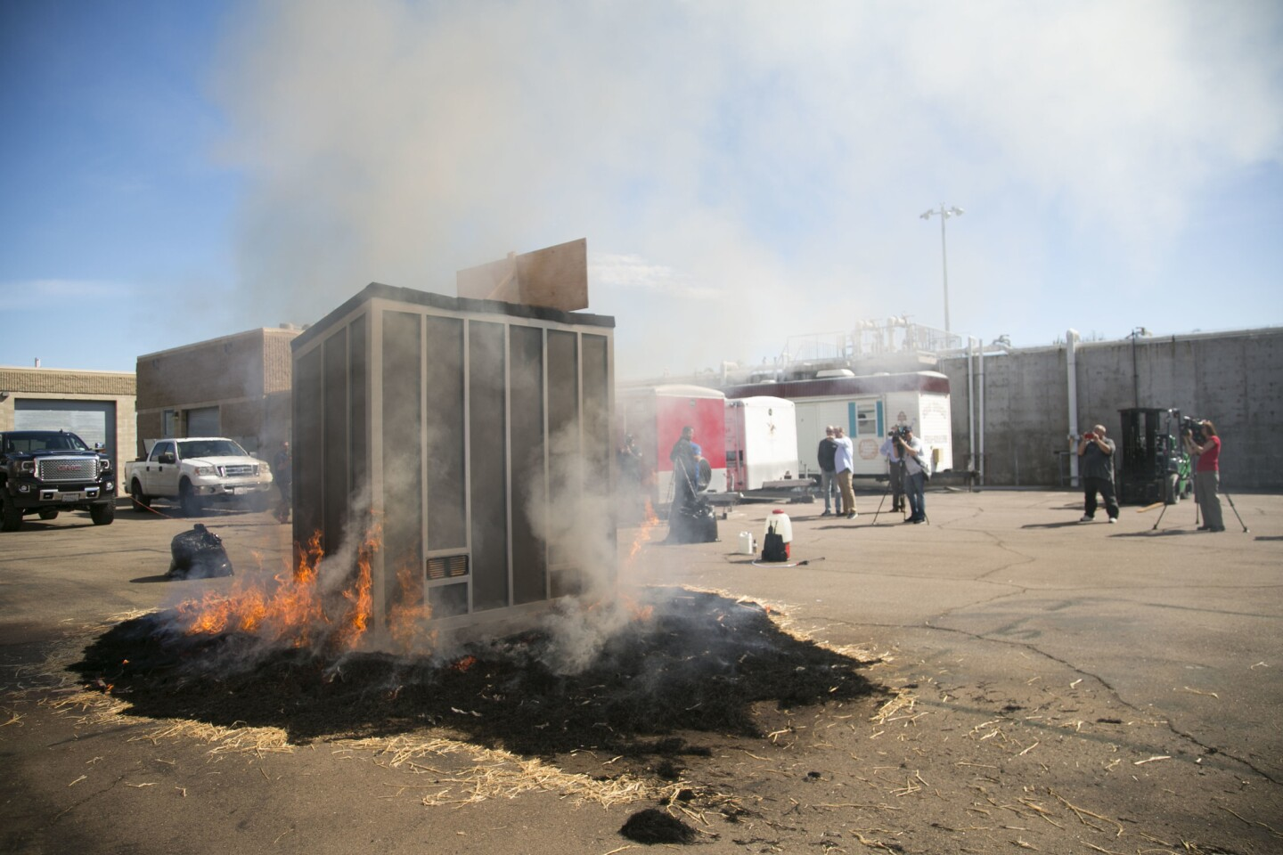 M-Fire Suppression Inc. is a company manufacturing a shed that is fire proof for protecting valuables from wildfire. They did a demonstration on Tuesday at the San Diego Fire Academy.