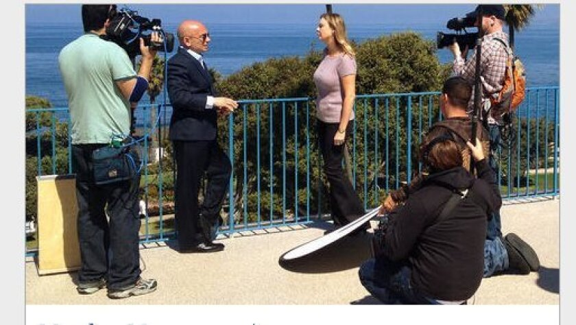 """Anthony Melchiorri, one of the most sought-after hotel """"fixers"""" in the country, interviews La Jolla's Krista Baroudi for Monday's episode of """"Hotel Impossible"""" on the Travel Channel. Travel Channel website photo"""