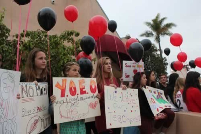 La Jolla High students led the protests held at all La Jolla public schools on Monday, asking that the district-wide decision to layoff 1,650 teachers and school staff (including 53 in La Jolla) be rescinded. The pink slips were scheduled to be made permanent at the Tuesday, May 15 school board meeting. Read up-to-the-minute coverage of the situation at lajollalight.com. Pat Sherman Photos