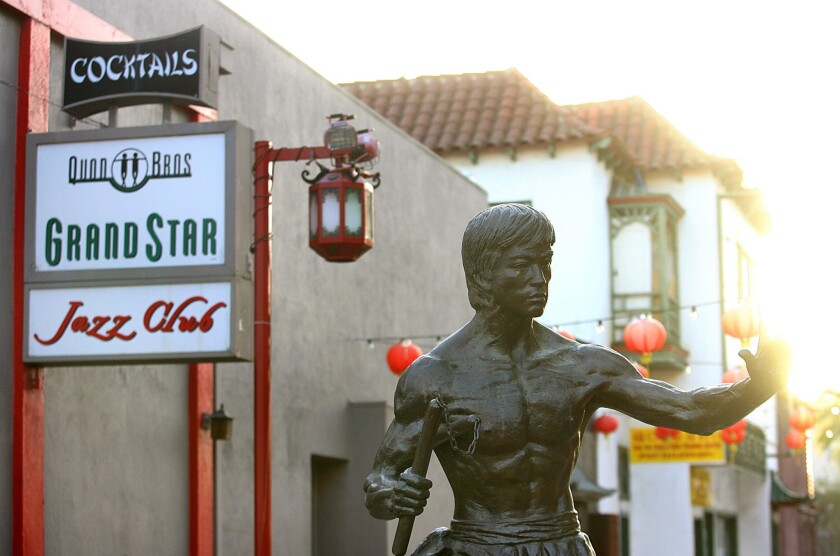 The Chinatown After Dark series is kicking off Thursday. Above, the Bruce Lee statue outside Starry Kitchen in Chinatown.