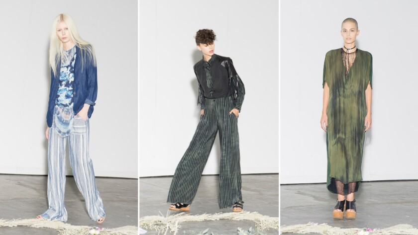 Looks from the Raquel Allegra spring 2016 collection.