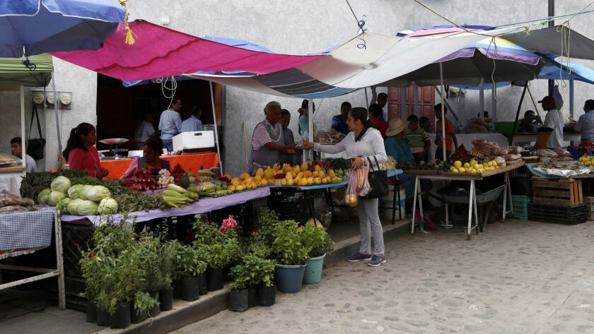 Fruits and vegetables are displayed for sale at the market in downtown Malinalco, Mexico on June 25, 2017.
