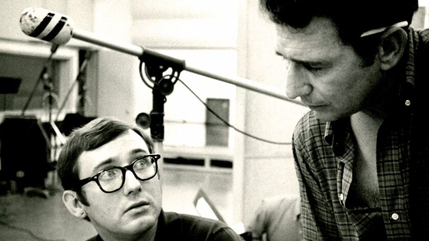 Mike Wofford (left) is shown with drummer Shelly Manne at a 1967 recording session in Hollywood.