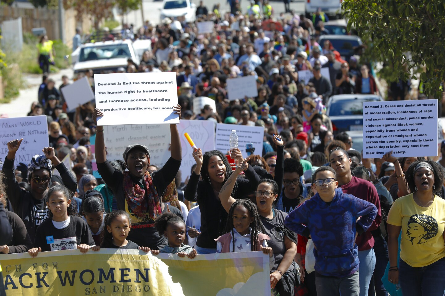 Immediately following a large rally held on the corner of Euclid and Logan Avenue on Sunday March 8, 2020, the group started their March for Black Women San Diego heading north on Euclid Avenue. The march ended at Kennedy Neighborhood Park where they listened to additional speakers and performers.