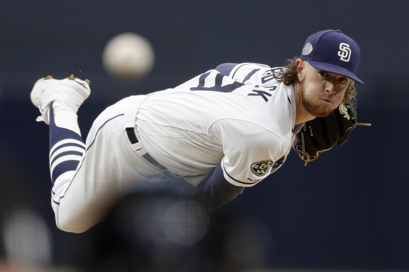 Padres starting pitcher Chris Paddack works against the New York Mets on May 6.