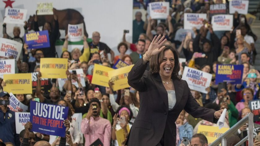 LOS ANGELES, CALIF. -- SUNDAY, MAY 19, 2019: Senator Kamala Harris takes the stage to speak about he