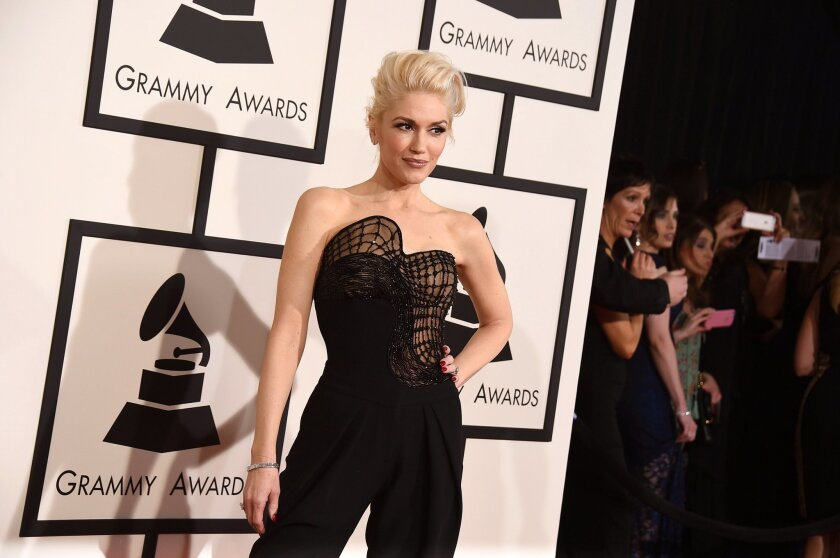Gwen Stefani arrives at the 57th annual Grammy Awards at the Staples Center on Sunday, Feb. 8, 2015, in Los Angeles. Her band, No Doubt, is one of the headlining acts for the Kaaboo Del Mar festival, which will be held Sept. 18-20 at the Del Mar Racetrack & Fairgrounds. (Photo by Jordan Strauss/Invision/AP)