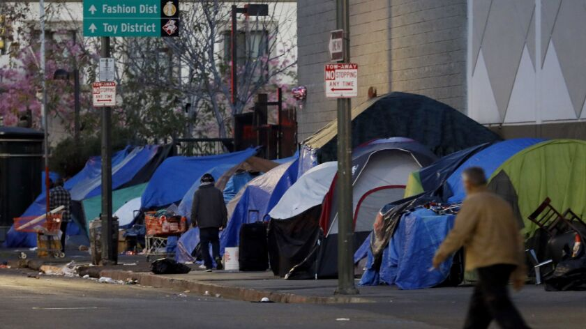 Thousands of people live on the streets of Los Angeles in tent encampments like this one on skid row, near East 5th Street and South San Pedro Street.