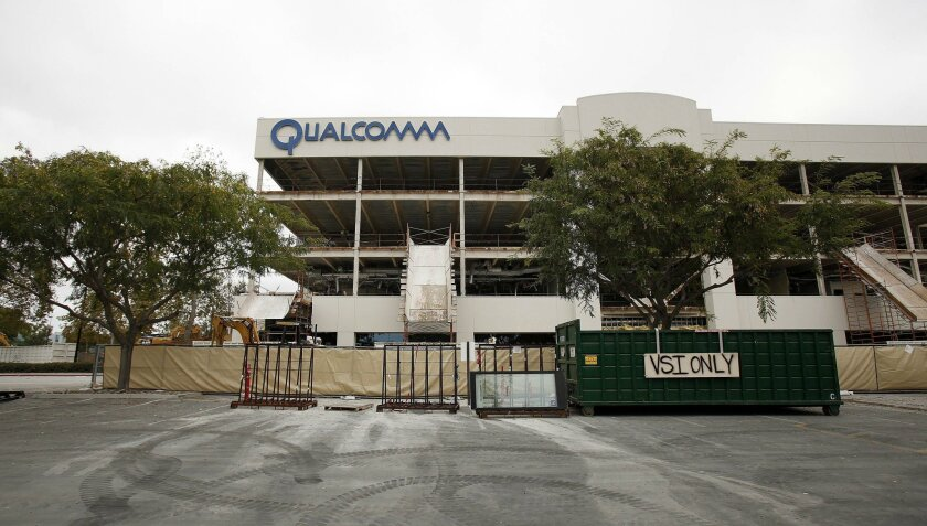 SAN DIEGO_CA_Qualcomm has sold the building at 10290 Campus Point for $105 million. It is currently being renovated. John Gastaldo / San Diego Union-Tribune