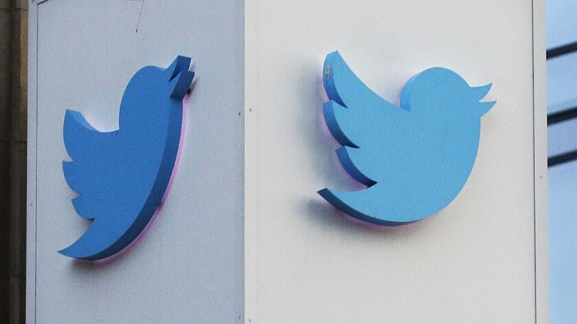 Twitter logo outside the company's headquarters