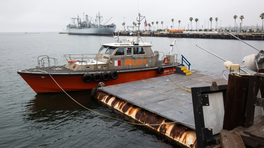 Los Angeles Pilot Service vessel Stephen M. White and crew at dock in San Pedro on June 9.