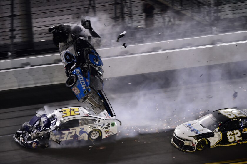 Ryan Newman's car flips in the air during a final-lap crash at the Daytona 500 on Monday.