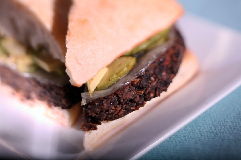 Veggie burgers from North Peak Brewing Co. in Traverse City, Mich., are made with black beans and portobello mushrooms.