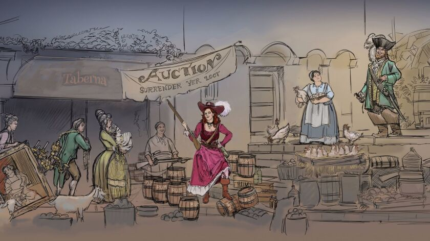 An artist's rendering of the scene that will replace the bride auction in the Pirates of the Caribbe