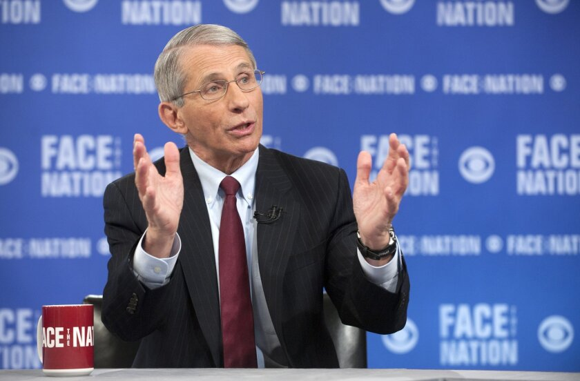 "In this photo provided by CBS News, the National Institute of Health's Dr. Anthony Fauci, the nation's top infectious disease expert, speaks on CBS's ""Face the Nation"" in Washington. Speaking on the Ebola virus, Fauci said it's perfectly normal to feel anxious about a disease that kills so fast and is ravaging parts of West Africa, but predicts there won't be an outbreak in the U.S. (AP Photo/CBS News, Chris Usher)"