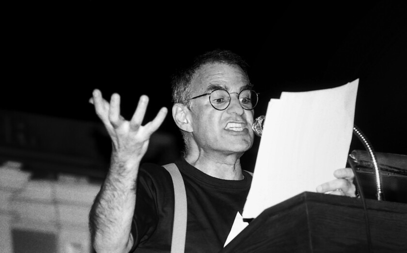 Larry Kramer speaking at a Boston Gay Town Meeting in June 1987.