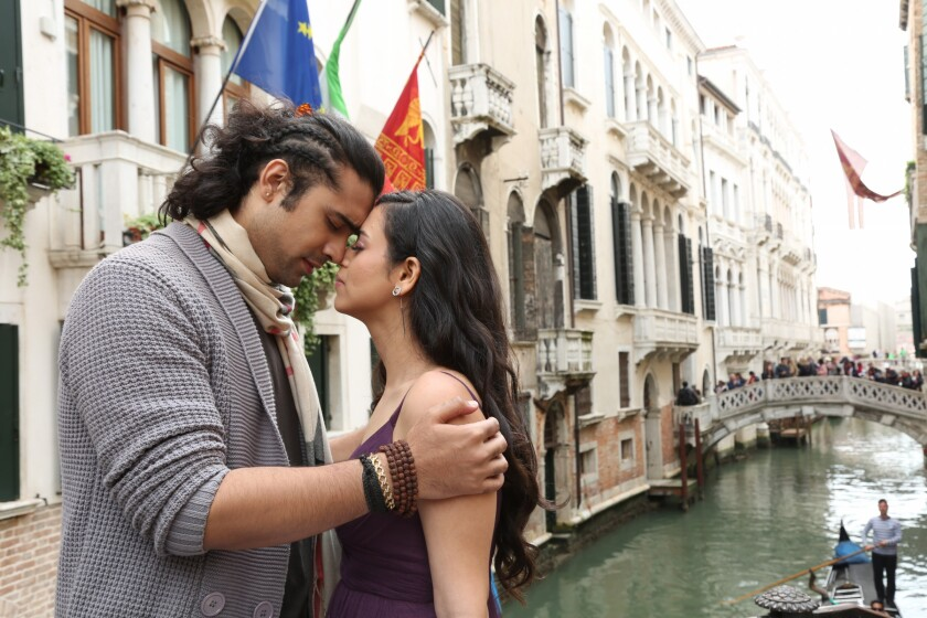 "Singer Jubin Nautiyal, left, and Romika Sharma in a still from the music video for ""Humnava Mere."""