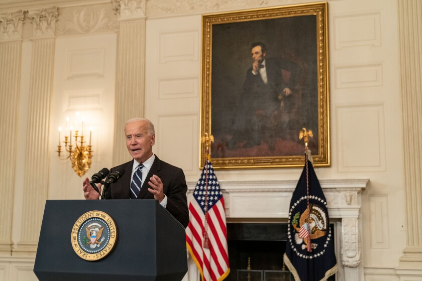 President Biden delivers remarks on new federal vaccine rules at the White House on Sept. 9.
