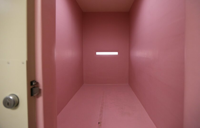 This Oct. 20, 2015 photo shows a special padded pink room used for residents who might harm themselves or others at Washington state's Special Commitment Center on McNeil Island, Wash. The facility holds the most dangerous and feared criminals in Washington state: sexually violent predators. (AP Ph