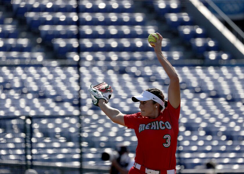Former SDSU pitcher Danielle O'Toole threw 3 2/3 shutout innings for Mexico in a 2-0 loss against the United States.