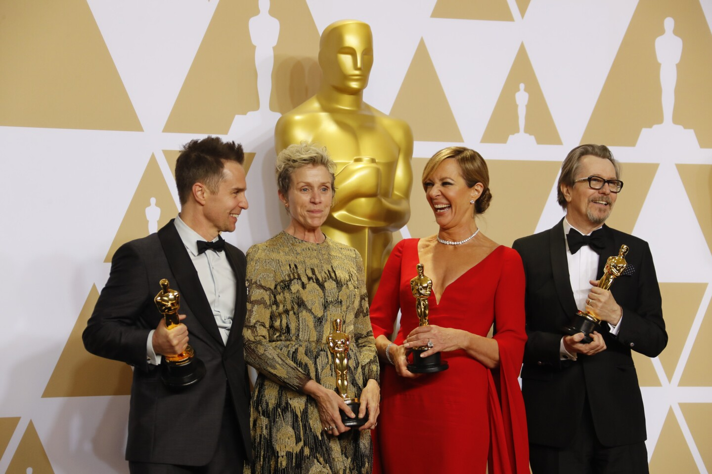 """The four acting winners, from left, Sam Rockwell, supporting actor for """"Three Billboards Outside Ebbing, Missouri,"""" Frances McDormand, lead actress for """"Three Billboards,"""" Allison Janney, supporting actress for """"I, Tonya"""" and Gary Oldman, lead actor for """"Darkest Hour."""""""