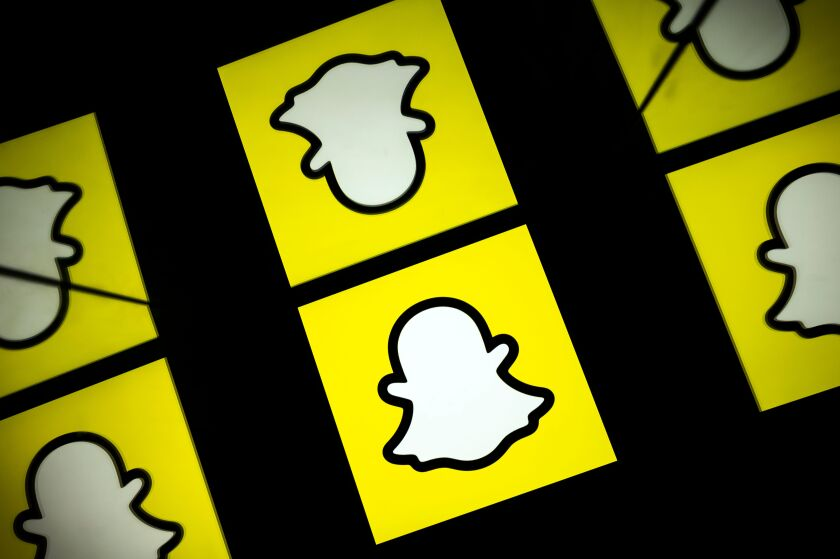 This picture taken on October 5, 2020 shows the logo of social media Snapchat.
