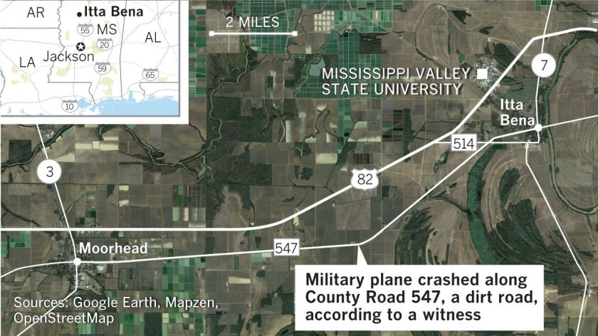 Military plane crash in Mississippi