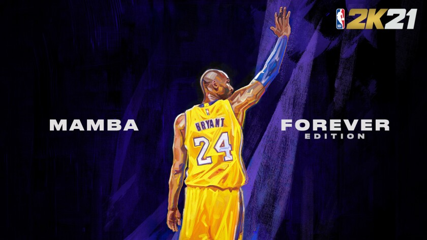 """One of two covers of """"NBA2K21 Mamba Edition"""" featuring a portrait of Lakers legend Kobe Bryant"""
