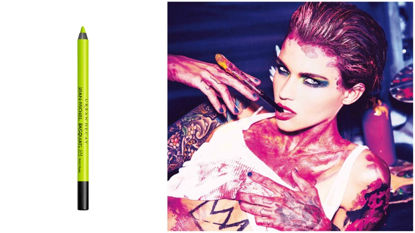 Urban Decay's Jean-Michel Basquiat glide-on eye pencil in Post Punk is part of the brand's new collection; Ruby Rose, the face of Urban Decay, poses in an advertisement photo for the special-edition Urban Decay x Jean-Michel Basquiat collection.