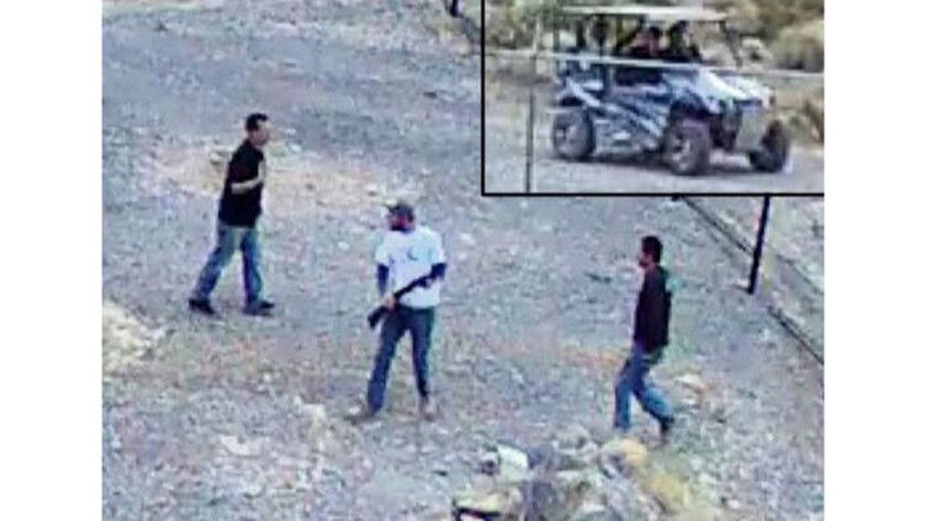Security cameras captured images of the men and the off-road vehicle involved in recent vandalism at Devils Hole in Death Valley National Park.