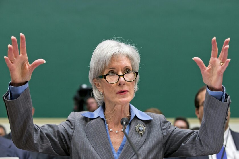 Health and Human Services Secretary Kathleen Sebelius gestures while testifying on Capitol Hill in Washington, Wednesday, Oct. 30, 2013, before the House Energy and Commerce Committee hearing on the difficulties plaguing the implementation of the Affordable Care Act. The Obama Administration claims