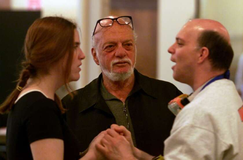 "Hal Prince, center, attends a rehearsal of ""The Flight of the Lawnchair Man,"" a one-act musical he directed in 2015."