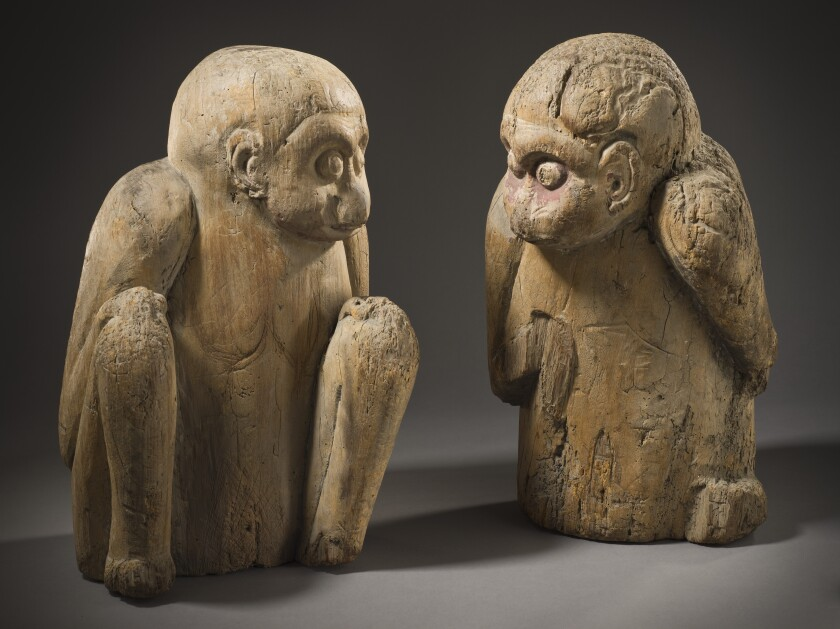 """Pair of Sacred Monkeys,"" Japan, Heian period, 11th century; wood with traces of pigment"