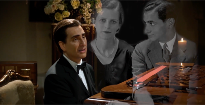 """A video still from the """"Hershey Felder as Irving Berlin"""" livecast from Florence, Italy on May 10."""