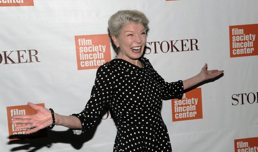 """FILE - In this Wednesday, Feb. 27, 2013 file photo, Actress Phyllis Somerville attends the premiere of """"Stoker"""" at Walter Reade Theatre in New York. Phyllis Somerville, an actor with a variety of credits in films, television shows and Broadway productions over her lengthy career, has died. She was 76. Somerville's manager Paul Hilepo says the actor died Thursday, July 16, 2020 in New York City of natural causes. (Photo by Evan Agostini/Invision/AP, File)"""