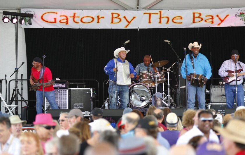 Louisiana accordion wiz Geno Delafose and his band, French Rockin' Boogie, are shown performing at the 2017 Gator by the Bay festival at Spanish Landing Park. They are returning for this weekend's edition of the four-day music and food festival, which will feature more than 100 performances by 79 acts on seven stages.