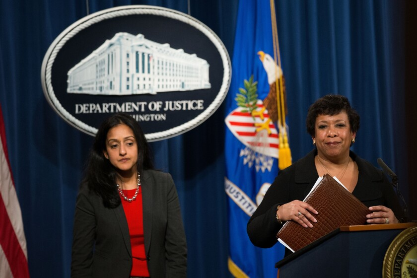 Loretta Lynch, right, and her top civil rights lawyer, Vanita Gupta, announce the lawsuit against North Carolina on May 9.