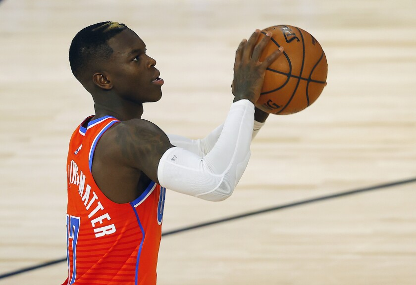 Dennis Schröder during the first half of a game against the Clippers this year.