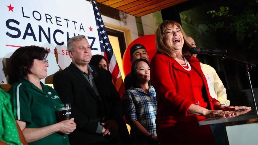U.S. Senate candidate Loretta Sanchez speaks to supporters during her election night gathering at the Anaheim Brewery in Anaheim.