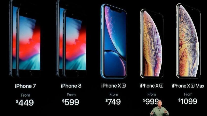 Phil Schiller, Apple's senior vice president of worldwide marketing, speaks Sept. 12, 2018, about the new Apple iPhone XS, iPhone XS Max and the iPhone XR at an event to announce new Apple products in Cupertino, Calif.