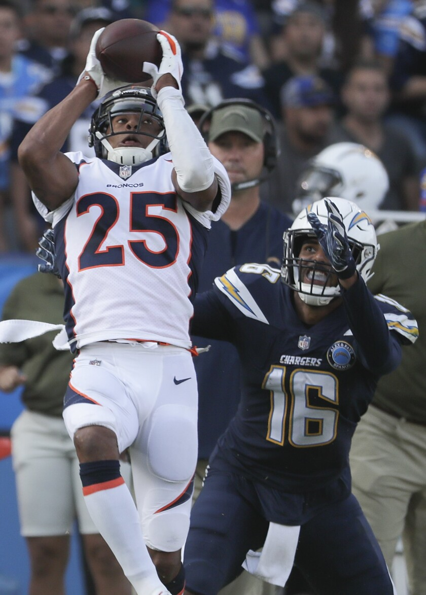 Chris Harris Jr. intercepts a pass intended against the Chargers.