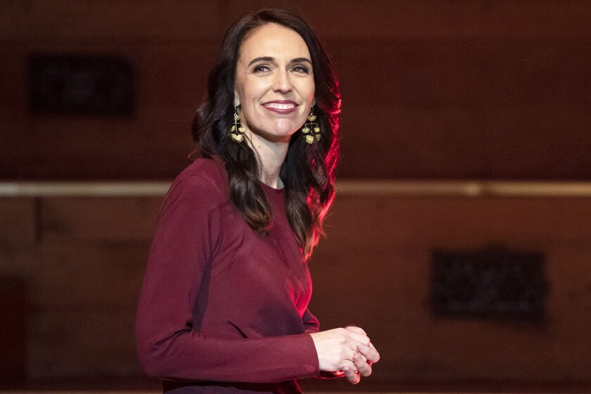 New Zealand Prime Minister Jacinda Ardern walks on stage to deliver her victory speech in Auckland on Saturday.